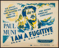 "Movie Posters:Film Noir, I Am a Fugitive from a Chain Gang (Dominant, R-1956). Title Lobby Card (11"" X 14""). Film Noir.. ..."