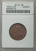 Australia, Australia: George V 1/2 Penny 1912-H MS61 Red and Brown ANACS,...