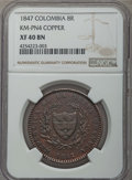 Colombia, Colombia: Nueva Granada copper 8 Reales Pattern 1847 XF40 BrownNGC,...
