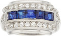 Estate Jewelry:Rings, Art Deco Synthetic Sapphire, Diamond, Platinum Ring. ...