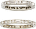 Estate Jewelry:Rings, Diamond, Platinum Eternity Bands. ... (Total: 2 Items)