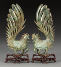 Asian:Chinese, A Pair of Chinese Carved Hardstone Roosters with Stands, 20thcentury. Marks: MADE IN CHINA. 8-7/8 inches high (22.5cm)... (Total: 2 Items)