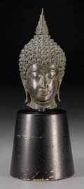 Asian:Other, A Cambodian Bronze Head of Buddha with Stand. 10-1/2 inches high(26.7 cm) (without stand). Property from the Personal C...
