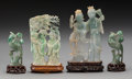 Asian:Chinese, A Pair of Chinese Carved Jade Phoenix and Two Hardstone Figural Groups. 7-1/4 inches high (18.4 cm) (largest, with stand). ... (Total: 4 Items)