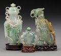 Asian:Chinese, A Chinese Hardstone Covered Urn and Two Snuff Bottles. 6 incheshigh (15.2 cm) (urn, with stand). The covered urn with car...(Total: 3 Items)
