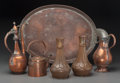 Decorative Arts, Continental:Other , Six Persian Copper-Plated Table Articles, 20th century. Marks:IRAN. 14-1/8 inches highest (Turkish coffee), 25-1/2 inch...(Total: 6 Items)