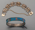 Estate Jewelry:Bracelets, Two Bracelets from Shirley Temple's Childhood. Maker unknown, 20thcentury. Marks to Aztec bracelet: K.B, 900. 5-3/8 inches ...(Total: 2 Items)