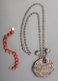 Estate Jewelry:Necklace, A 14K Gold and Coral Bracelet with Chinese Silver Necklace, 20thcentury. Marks: (various). 31 inches long (78.7 cm) (length...(Total: 2 Items)