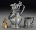 Decorative Arts, Continental:Other , A Pewter Mug and Rein Zinn Pitcher with Figural Brass Bell, 20thcentury. Marks: (various). 9-5/8 inches high (24.4 cm) (tal...(Total: 3 Items)