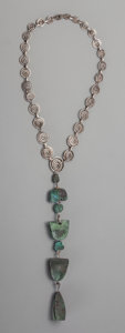 Jewelry, A South American Silver Necklace with Bronze Pre-Columbian Incan Tomb Bells. Marks: 925. 19-1/4 inches long (48.9 cm) (c...