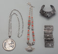 Jewelry, Four Silver Jewelry Articles: Necklaces, Bracelet, and Cuff, 20th century. Marks: (various). 23-5/8 inches long (60.0 cm) (l... (Total: 4 Items)