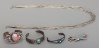 Five Native American Jewelry Articles: Bracelets, Pin, and Necklace, 20th century Marks to pin: STERLING
