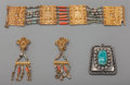 Estate Jewelry:Other , Four Egyptian Silver-Plated and Gilt Jewelry Articles: Earrings,Bracelet, Pendant, 20th century. 7 inches long (17.8 cm) (b...(Total: 4 Items)