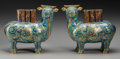 Asian:Chinese, A Pair of Chinese Cloisonné Ox-Form Joss Stick Holders. 7-1/8inches high x 8-1/4 inches wide (18.1 x 21.0 cm). Property...(Total: 2 Items)