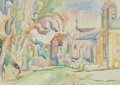 Fine Art - Painting, European:Contemporary   (1950 to present)  , A J. Klot Watercolor of a Monastery on Paper, circa 1987. Signedlower right: J. Klott 87. 24-1/2 x 34-3/4 inches (62.2 ...