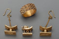 Estate Jewelry:Earrings, A Three-Piece Gilt Ghanaian Stool Suite with Ring, 20th century.1-3/4 inches high (4.4 cm) (earring with chain). The lot ...(Total: 4 Items)