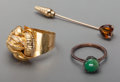 Estate Jewelry:Rings, A 14K Gold Stickpin and Snake Ring with 10K Gold and Jade-MountedRing, 20th century. Marks: (various). 2-1/8 inches long (5...(Total: 3 Items)