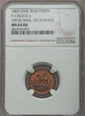 Civil War Patriotics, 1863 Token First in War, First in Peace, F-174/272 a, MS64 Red andBrown NGC. PCGS Population: (3/0)....