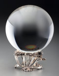 Art Glass:Steuben, A Steuben Crystal Ball on Sterling Silver Wave Base, circa 1974.Marks: STEUBEN, STERLING. 5-3/4 inches (14.6 cm). Thi...(Total: 2 Items)