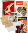 Movie/TV Memorabilia:Memorabilia, A Marilyn Monroe-Related Group of Ephemera, Circa 1950s. ...
