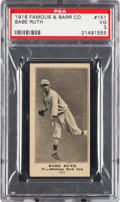 Baseball Cards:Singles (Pre-1930), 1916 Famous & Barr Co. Babe Ruth #151 PSA VG 3....