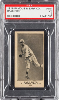 1916 Famous & Barr Co. Babe Ruth #151 PSA VG 3