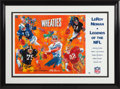 Football Collectibles:Photos, Early 1990's Payton, Unitas, Greene, Staubach & Lott Signed LeRoy Neiman Lithograph. ...