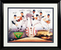 Baseball Collectibles:Photos, 1990's New York Yankees Cy Young Award Winners Multi-SignedLithograph....