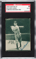 Baseball Cards:Singles (1930-1939), Signed 1934-36 Batter-Up Earl Averill #113 SGC Authentic....