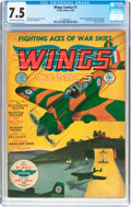 Golden Age (1938-1955):War, Wings Comics #1 (Fiction House, 1940) CGC VF- 7.5 Off-white towhite pages....