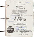 Explorers:Space Exploration, Skylab II (SL-3) Training-Used SWS Systems Checklist BookOriginally from the Personal Collection of Mission Pilot...