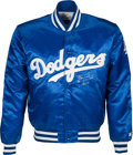 Baseball Collectibles:Uniforms, 1991 Gary Carter Game Worn & Signed Los Angeles Dodgers Jacket from The Gary Carter Collection....