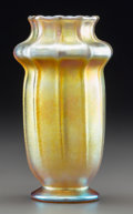 Art Glass:Tiffany , Tiffany Studios Gold Favrile Glass Ribbed Vase. Circa 1915.Engraved L.C. Tiffany, Favrile, 5797J. Ht. 5-3/4 in..FROM...