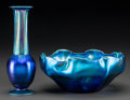 Art Glass:Tiffany , Tiffany Studios Blue Favrile Glass Bowl and Vase. Circa 1919.Engraved L.C. Tiffany - Favrile, 9630N; 1836. Ht. 7-1/4in... (Total: 2 Items)
