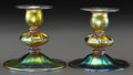 Art Glass:Tiffany , Pair of Tiffany Studios Gold Favrile Glass Candlesticks. Circa1900. Engraved L.C.T., Favrile. Ht. 4 in.. FROM THE EST...(Total: 2 Items)