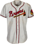Baseball Collectibles:Uniforms, 1950 Luis Olmo Game Worn Boston Braves Jersey from The Ken Aspromonte Collection....