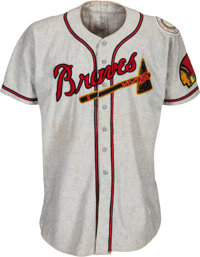 1950 Luis Olmo Game Worn Boston Braves Jersey from The Ken Aspromonte Collection