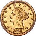 1843-C $2 1/2 Small Date, Crosslet 4 AU50 PCGS. Variety 1....(PCGS# 7729)