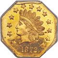 California Fractional Gold , 1872 $1 Indian Octagonal 1 Dollar, BG-1120, Low R.5, MS66 PCGS....