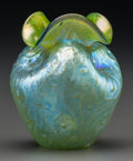 Art Glass:Other , Austrian Green Iridescent Glass Cabinet Vase. Circa 1900. Ht. 3-1/4in.. ...