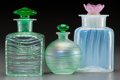 Art Glass:Steuben, Three Steuben Threaded and Opalescent Glass Perfumes. Circa 1920.Stenciled STEUBEN (fleur-de-lis). Ht. 5-1/4 in. (tallest)...(Total: 3 Items)