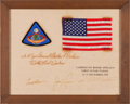 Explorers:Space Exploration, Apollo 8 Flown American Flag and Embroidered Mission Insignia Patch on Crew-Signed Presentation, in Framed Display. ...