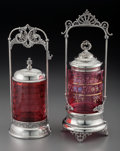 Silver Holloware, American:Other , Two American Silver-Plated and Glass Pickle Casters, late 19thcentury. Marks: (various). 12-1/4 inches high (31.1 cm) (tall...(Total: 4 Items)