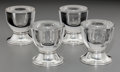 Silver Holloware, American:Other , Four Frank M. Whiting Co. Silver and Glass Candlesticks, NorthAttleboro, Massachusetts, mid-20th century. Marks: STERLI...(Total: 4 Items)