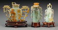 Asian:Chinese, Three Chinese Carved Jade, Jadeite and Hardstone Snuff Bottles withStands. 3-1/2 inches wide (8.9 cm) (widest). The flatt... (Total: 3Items)
