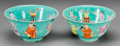 Asian:Chinese, A Pair of Chinese Famille Jaune Enameled Porcelain Bowls. Marks:(seals to undersides). 3-3/8 inches high x 7 inches diamete...(Total: 2 Items)