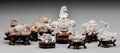 Asian:Chinese, A Group of Seven Chinese Carved Rock Crystal Figures with Stands,20th century. Marks: CHINA. 3-5/8 inches high (9.2 cm)...(Total: 7 Items)