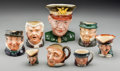 "Ceramics & Porcelain, British:Modern  (1900 1949)  , Seven Royal Doulton Character ""Toby"" Ceramic Mugs with BarringtonCeramic Mug of Eisenhower, Lambeth, England, 20th century...(Total: 8 Items)"