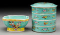 Asian:Chinese, A Chinese Famille Jaune Enameled Porcelain Four-Tier Box and Bowl,20th century. Marks to both: CHINA; (seal to undersid...(Total: 2 Items)