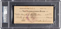 Baseball Collectibles:Others, 1945 Walter Johnson Signed Check, PSA/DNA Authentic....